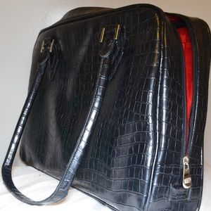 Handbags - Classy Black leather Laptop Bag w/ Red interior